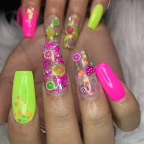Day 237: Neon Fruit Salad Nail Art