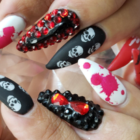 Day 286: Skulls and Spiders Halloween Nail Art
