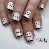 Day 291: Cute Ghost and Pumpkin Nail Art