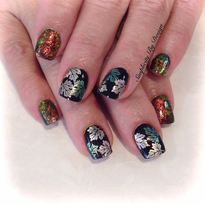 Day 252: Autumn Leaves and Flowers Nail Art