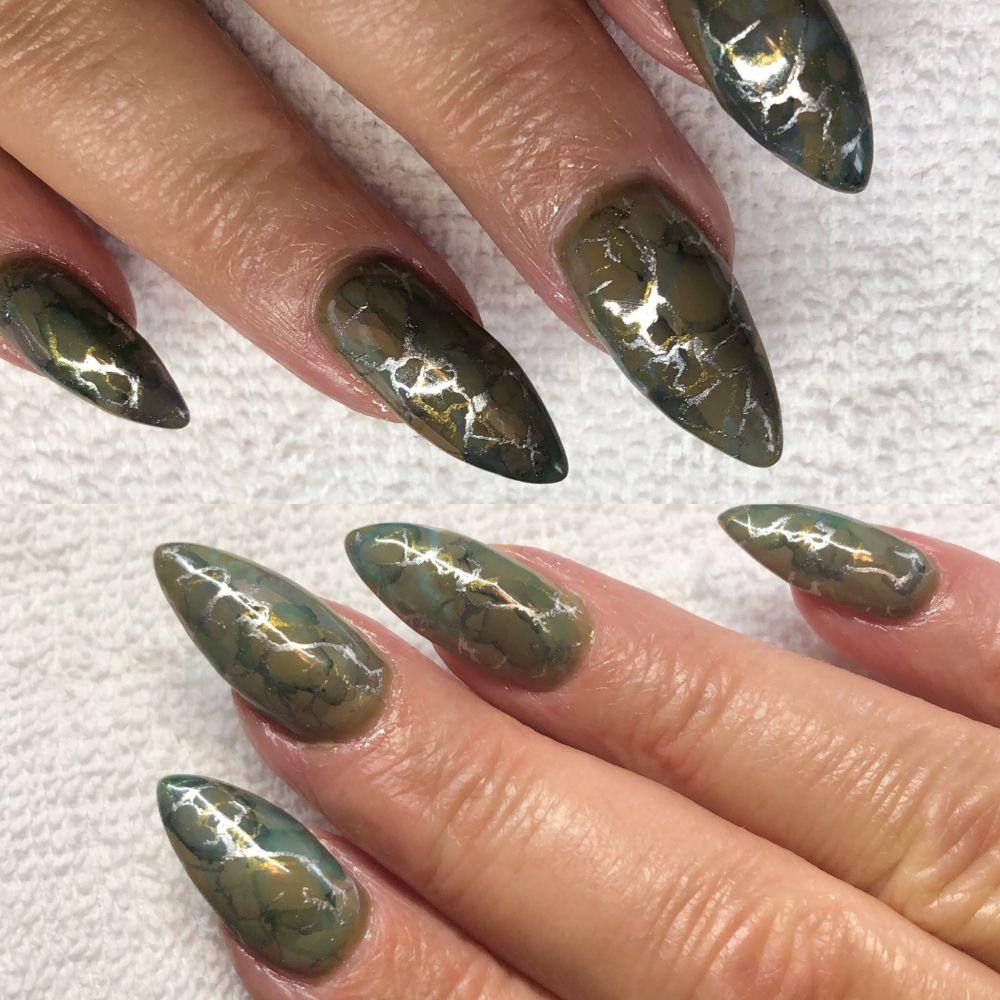 Day 258: Camo Silver Marble Nail Art