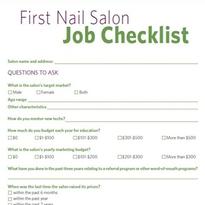 First Nail Salon Job Checklist