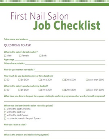 First Nail Salon Job Checklist