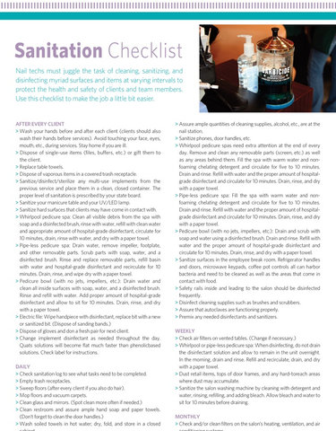 Handout : Sanitation Checklist