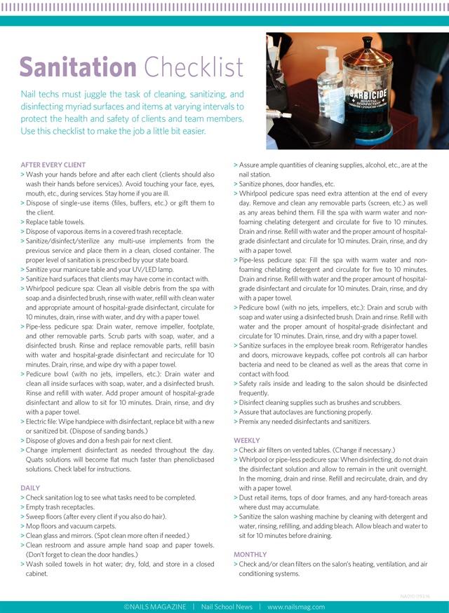 Handout : Sanitation Checklist