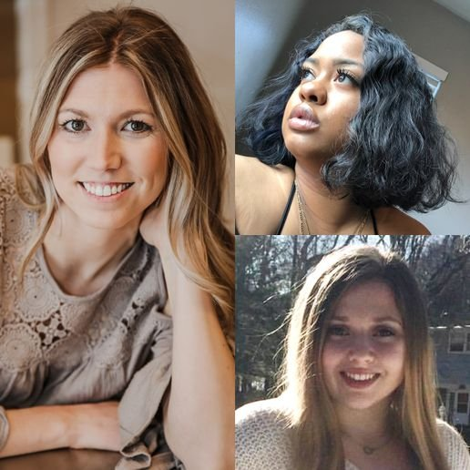 Clockwise from left are the winners of the Rosy Rewards Scholarships: Brianne Doyle of Aveda Institute Maine; Alanna Clay of Career Academy of Beauty, California; and Megan Regula of Paul Mitchell The School Schenectady, New York. 