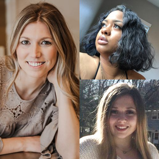 Clockwise from left are the winners of the Rosy Rewards Scholarships: Brianne Doyle of Aveda Institute Maine; Alanna Clay of Career Academy of Beauty, California; and Megan Regula of Paul Mitchell The School Schenectady, New York.   -