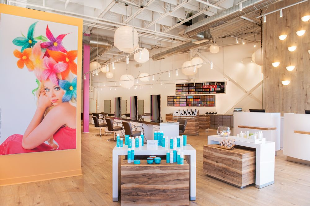 <p>Lifestyle photos of the team&#39;s work offer playful color at Andreas Hogue Salon in Vernon Hills, Illinois.</p>