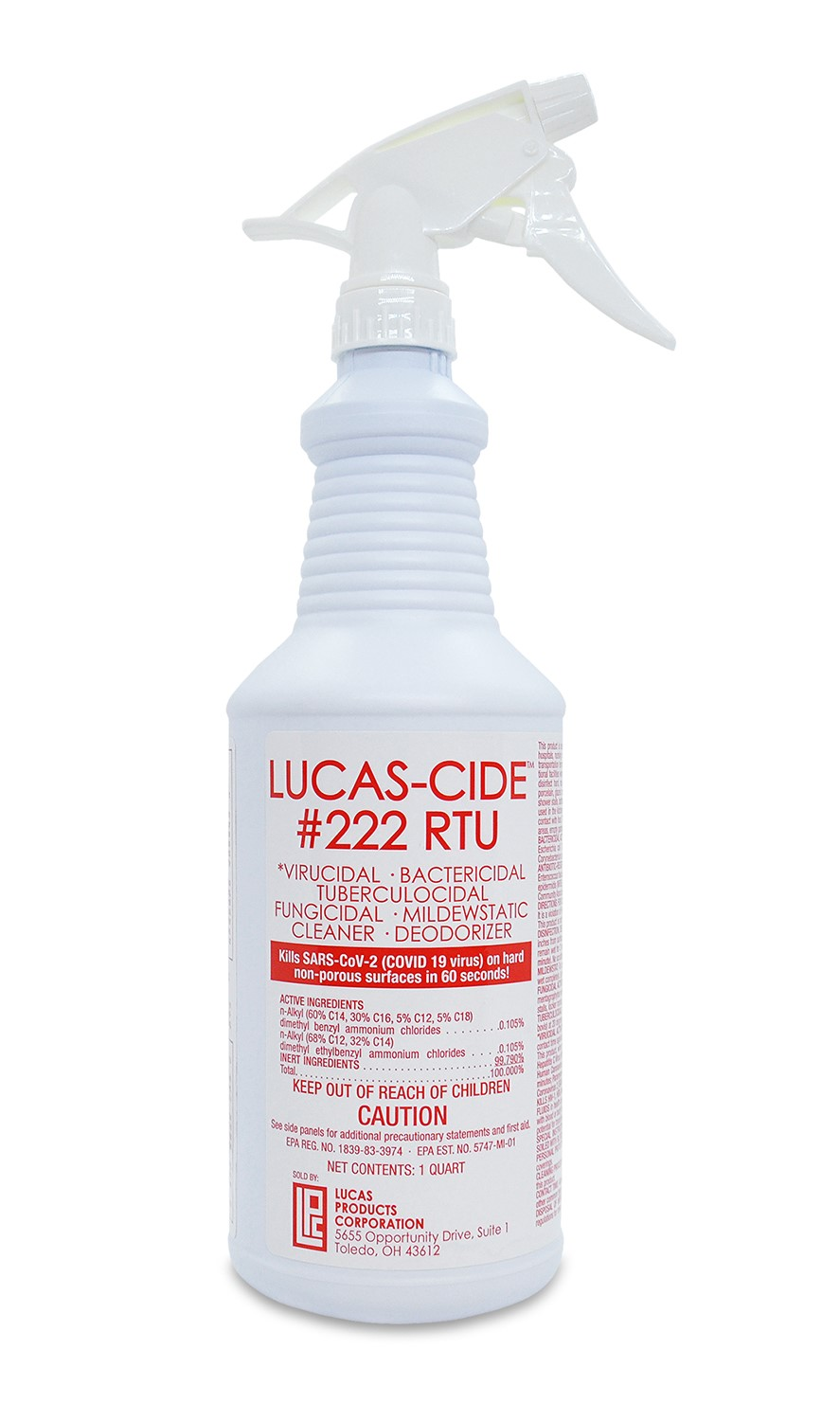 Hospital-Grade Disinfectant Kills Covid-19 in 60 Seconds:  Lucas-Cide #222 RTU