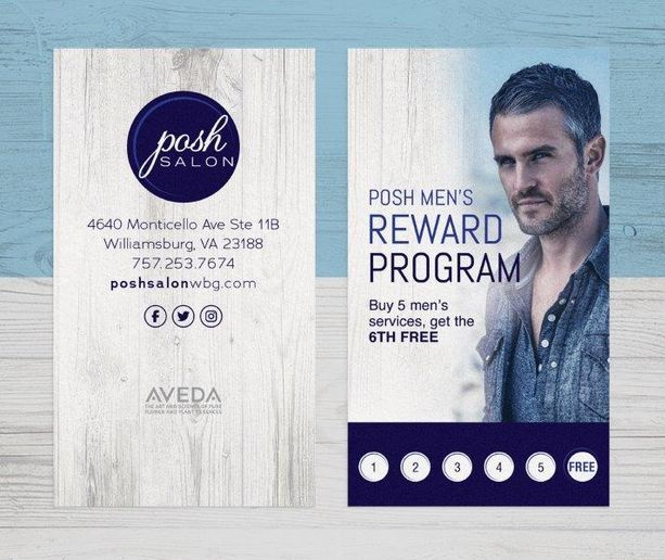 Posh Salon of Williamsburg's reward program for men. 