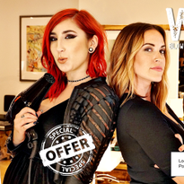 The front of Whip Salon's direct mail piece features two of their stylists holding their...