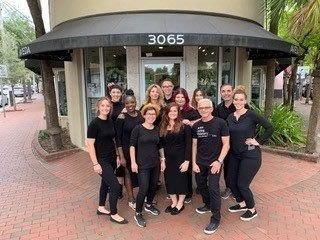 The team from the Detlev Lifestyle Salon in front of their salon in Miami, FL. 