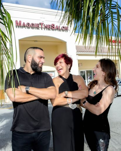 David DiFalco, Maggie DiFalco and Jacqueline DiFalco Gonzalez of Maggie The Salon in Pembroke Pines, FL.