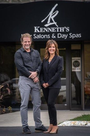 Tony Anders, director of culture development, and Jody Achatz, chief operations officer, outside of Kenneth's Salons and Day Spas in Columbus, OH.  -