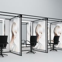 A rendering of the salon pod concept with LED image.
