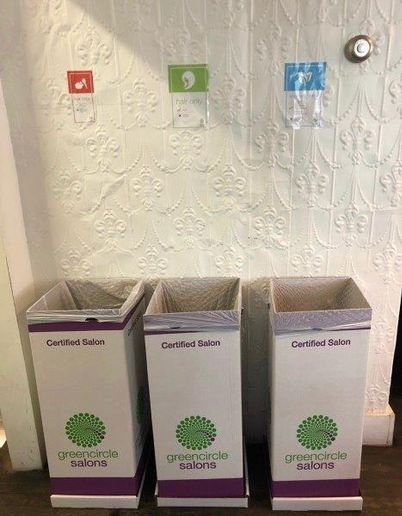 The Green Circle Salons' recycling bins at Hernan Prada Hair in Bedford Hills, New York.   -