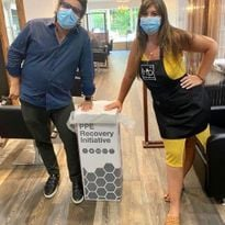 Owner Hernan Prada and Salon Director Alexa Cikoja encourage guests to safely dispose of their...