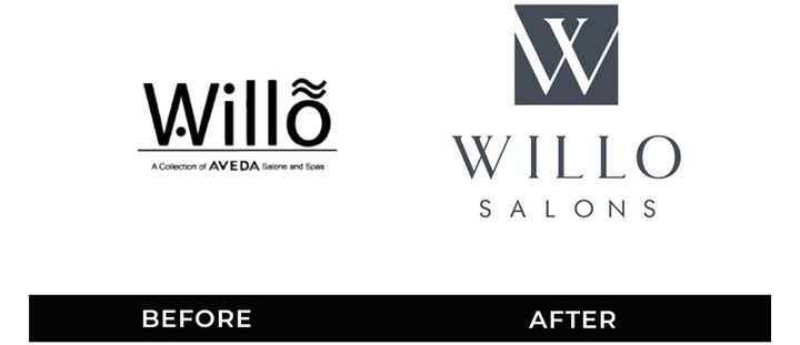 Take a look at the before and after rebranding for Willo Aveda SalonSpas in California. The salon wanted to modernize its logo with a classic, clean design. 
