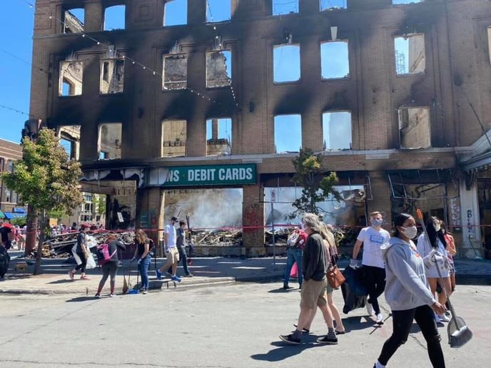 Devastation on Lake Street where Faatemah Ampey's salon resides.   -