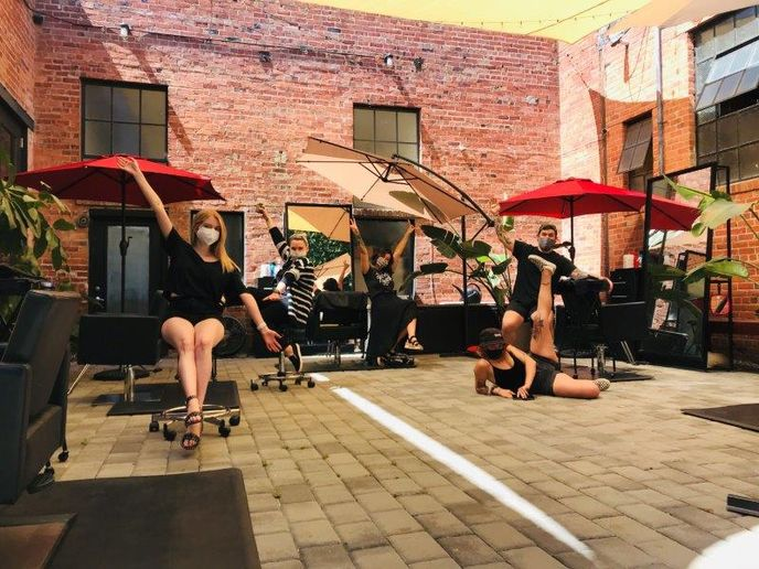 The team at Citrus Salon at their makeshift outdoor stations, when the California governor allowed outdoor services earlier this year.   -