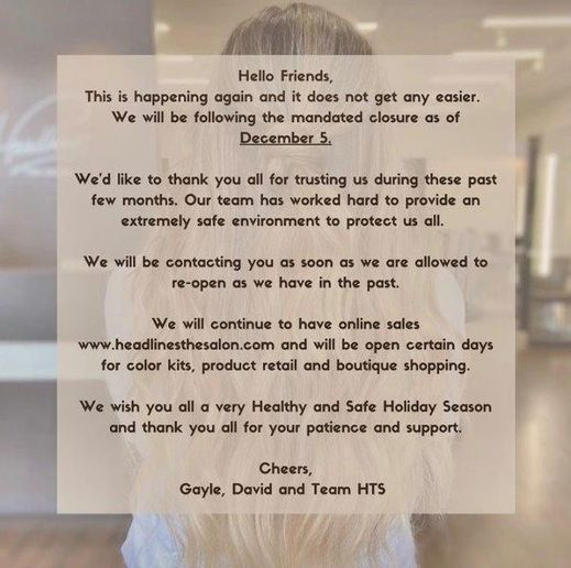 The social media announcement from Headlines The Salon to their clients.   -