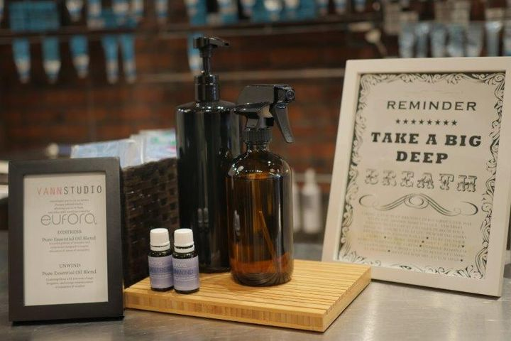 A station at Vann Studio Salon welcomes clients, invites them to take a deep breath, and enjoy a disposable mask scented with a Eufora Essential Oil blend.  - Duncan Star-Boszko