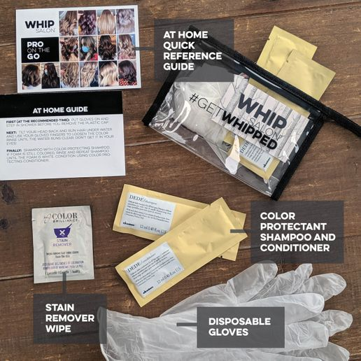 The Pro on the Go after care packet includes disposable gloves to protect the client's hands, color protectant shampoo and conditioner, a stain remover clean up the hair line, and complete directions in a Whip-branded makeup bag.   -