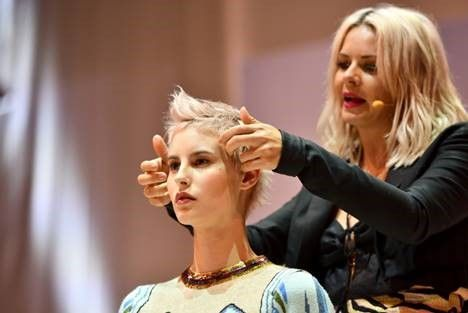 Kate Reid, Kevin.Murphy's Color.Me Global Design Directo on stage doing what she loves. 