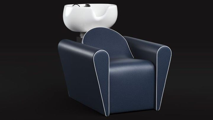 Blues Chair by Gamma & Bross: This neo classic styling chair features a hydraulic pump and a base in polished inox steel, and is available in 30 different vinyl options. Its simple lines from the past are reinvented for a modern look, making it a perfect match for both traditional and modern environments.  The use of white or color piping gives it a contemporary touch that expands on the possibility of customization. The collection also features a Blueswash shampoo station with ceramic bowl, optional leg lift and shiatsu air massage.  -