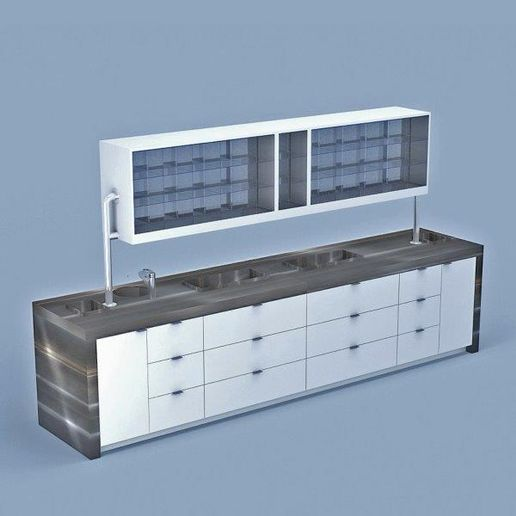 Double Sided Color Lab by Eurisko: Available in 8' 10' and 12' sections. Featuring sink, processor wells, ample storage, trash opening and double-sided color selection and mixing. Material option of stainless steel, quartz or laminate work-surface and side panels.  -