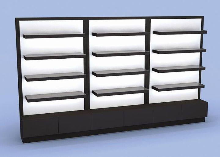 Hadrian's Wall by Eurisko: Contemporary floating retail shelves with concealed LED lighting and storage bunkers. Available in 3' and 4' increments with LED domain header option with lacquered or laminate finish.  -