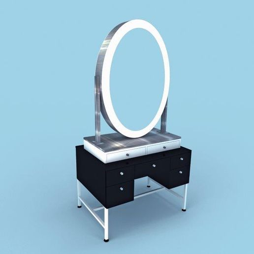 Victoria Station by Eurisko: A retro styling station available double or single sided. Featuring an LED oval mirror with ample storage and internal or external tool holders. Available with stainless steel trim in lacquer or laminate finish.  -