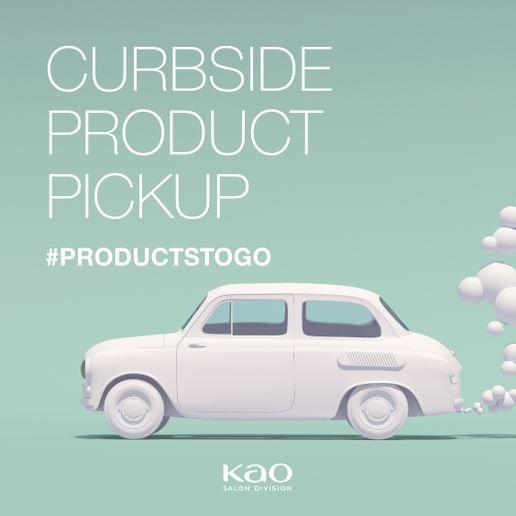 During the closure, the Kao Salon Industry Recovery Initiative helped salons with marketing materials to communicate to guests about features like curbside product pickup. 
