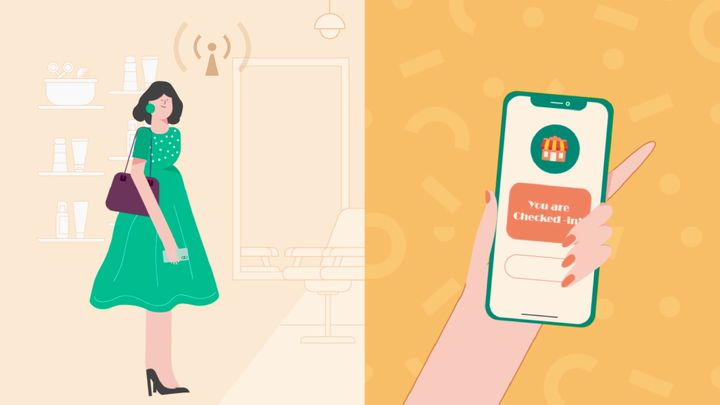 With curbside check-in, apps recognize when a client is within the vicinity and can check them in and text them to wait in their car until their service provicer is ready. Image by Zenoti.  -