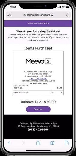 After the client has paid her ticket, the Self-Pay feature sends a receipt.  -