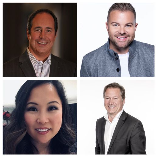 Clockwise from top left: Beauty Quest Group's Scott Missad, Ulta Beauty's Nick Stenson, SalonCentric's Bertrand Fontaine and Redken's Candy Gebhart.   -