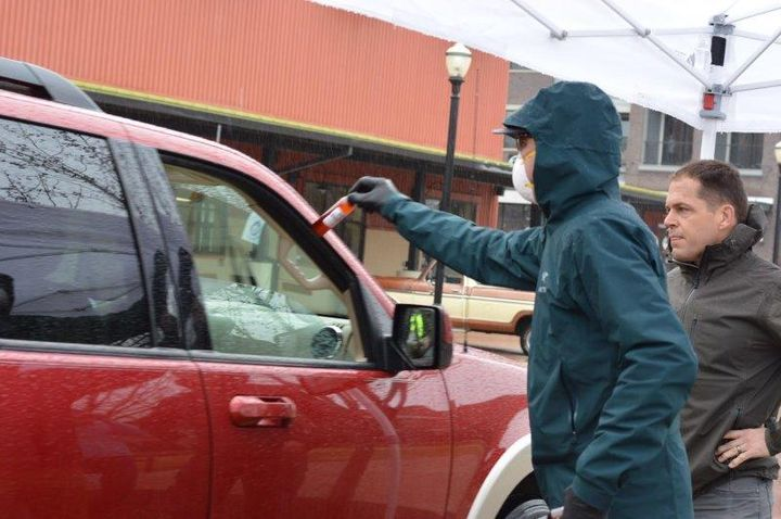 On March 18, the companies organized a drive thru at a local farmer's market, giving away 1,000 bottle of hand sanitizer to the community. 