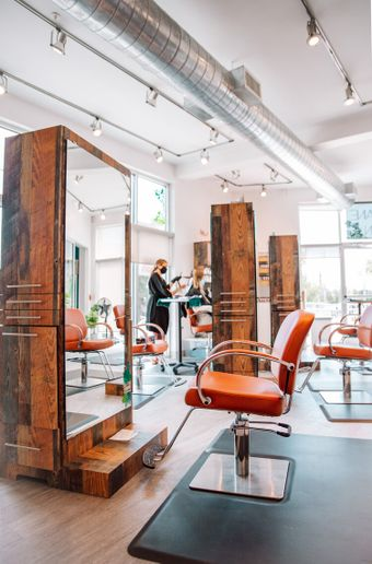 Mobile stations, like these at Indie Mane Salon in Indianapolis, offer flexbilitiy in how you set up your floor plan, which has become even more important with social distancing requirements changing.   -