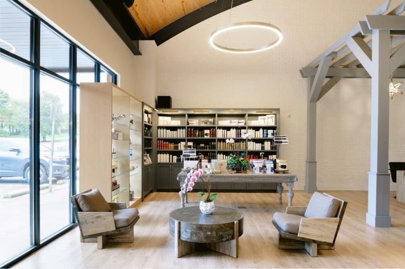 <p>At Grow, the reception area is referred to as the Atrium. Library-style shelving&nbsp;gives the the area a more home-like environment, making it a fun area to explore and shop.&nbsp;</p>