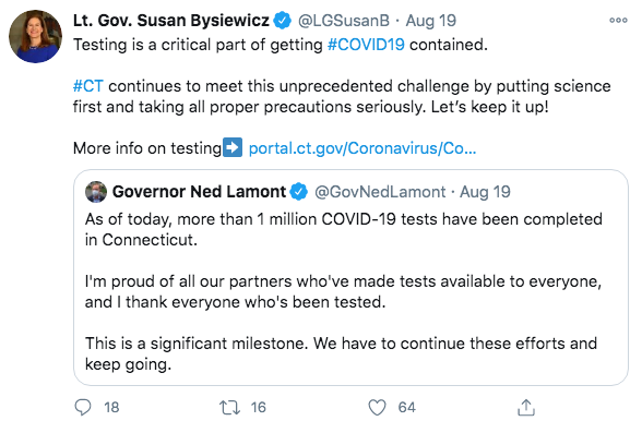 An example of a Tweet from the governor and lt. governor of Connecticut.  -