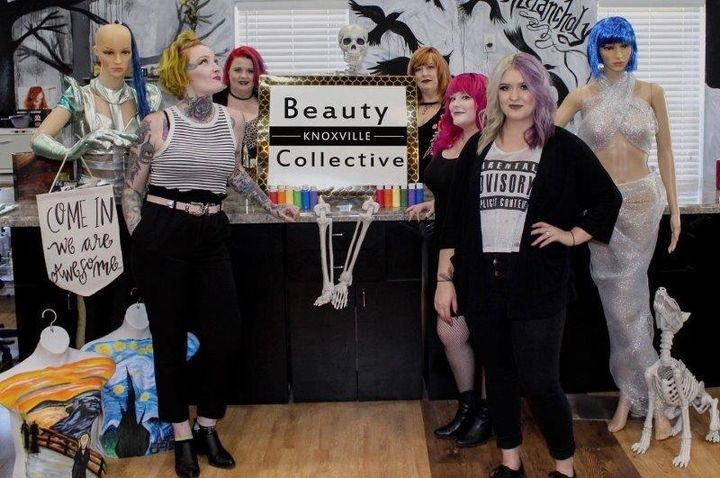 """I want everyone to be themselves and be proud of that. I don't want to force anyone into a mold, whether it's clients or stylists,"" says Scarlet Strange, pictured here with her team from Knoxville Beauty Collective. 