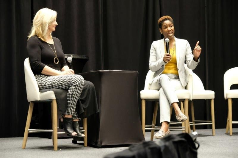 <p>Bonnie Bonadeo and Tamara Johnson-Shealey have a spirited discussion about the necessary fight to preserve the cosmetology license in the United States.</p>