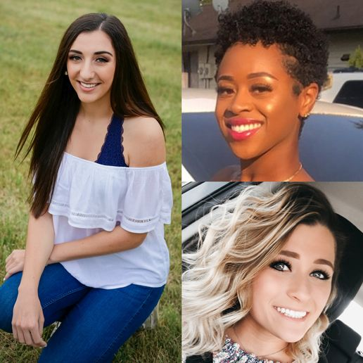 Winners of the Rosy Rewards Scholarship include (clockwise): Alissah Ashline of Paul Mitchell The Sc hool Portsmouth in Hartland, BT; Taija Smith of Clover Park Technical College in Tacoma, WA; and Kaitlyn Skinner of Paul Mitchell The School Indianapolis in Danville, IN. 