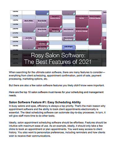 Rosy Salon Software: The Best Features of 2021